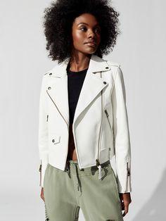 Baya Jacket in Off White by Mackage from Biker Jacket Outfit, Leather Jacket Outfits, Blazer Jacket, Off White Jacket, White Jackets, Trendy Outfits, Fashion Outfits, Fashion Mode, Muslim Fashion