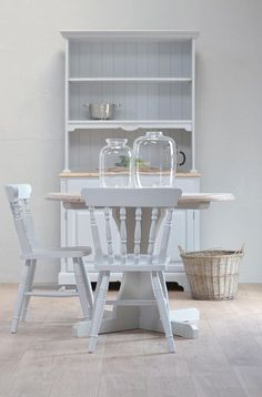 Sold/Rustic pine table and chairs, round dining table, shabby chic table, kitche. Pine Table And Chairs, Grey Dining Tables, Grey Table, Round Kitchen, Pine Furniture, Shabby Chic, Rustic, Modern English, Country Living