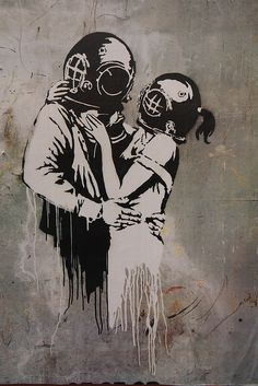 diver lovers by banksy