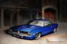 One Fish: Blue Fish, via my Behance portfolio. A '70 400 'Cuda for a client project.