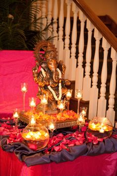 Ganesh table just like this using one of our statues, at entrance of ceremony location