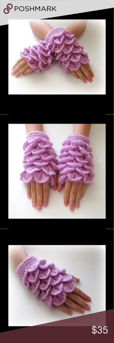 Hand Crocheted Fingerless Gloves Lilac Never worn Accessories Gloves & Mittens