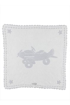 Baby Blanket for the airplane lover. Barefoot Dreams Scalloped Airplane Blue Receiving Blanket