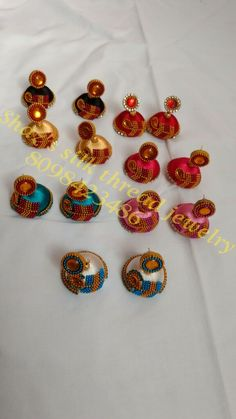 Silk thread jhumkas with peacock finishing.. to order call/whatsapp 8098423486