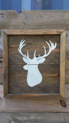 Rustic wood framed deer art / off white deer head silhouette