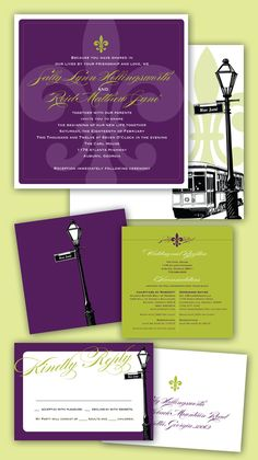 Beautiful New Orleans Mardi Gras wedding invite, reply cards and accommodations cards.......