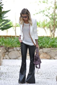 glam4you - nati vozza - couro - leather - blazer - branco - white - look - leopard - calça flare - leather pants