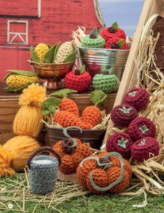 Crochet a Farm: 19 Cute-as-Can-Be Barnyard Creations - harvest vegetables - apples corn tomatoes pumpkins pail