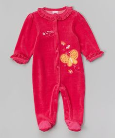 Another great find on #zulily! Fuchsia Velour Ruffle Collar Footie - Infant #zulilyfinds