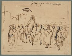 """Eugène Delacroix (French, 1798–1863). Study for """"The Sultan of Morocco and His Entourage,"""" ca. 1832–33. The Metropolitan Museum of Art, New York. Gift from the Karen B. Cohen Collection of Eugène Delacroix, in honor of Henri Loyrette, 2013 (2013.1135.20) 