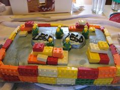 Lego Cake- my son wanted it to be silver- Legos and men are chocolate-all edible  #LegoDuploParty