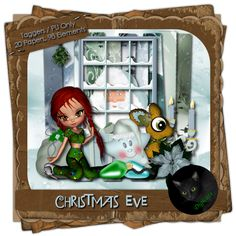 "Christmas Eve - Christmas themed digital taggers kit composed of 20 (800 x 800 pixel, .jpg) papers, and 98 .png elements including two ""Cookie"" poser by ©MediEvil Creations. 300 DPI. Personal use only."