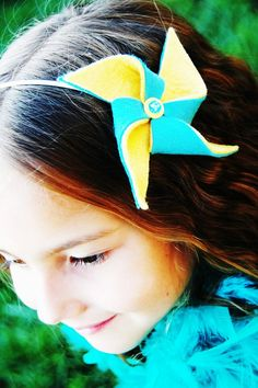 Headband Yellow Teal Pinwheel Carnival Turquoise Blue Wedding Birthday Party Circus Hair Accessories