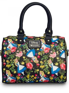 Disney Alice in Wonderland Floral Pebble Crossbody Dufflebag by Loungefly Curiouser & Curiouser. Bring to style your very own Alice in Wonderland Disney Floral Pebble Crossbody Dufflebag by Loungefly. Geeks, Alice In Wonderland Flowers, Disney Purse, Disney Handbags, Disney Brands, Thing 1, Crossbody Wallet, Satchel Purse, Disney Outfits