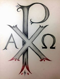 Tattoo #1: Chi Rho, the oldest known christogram in existence that begins with Alpha and ends with Omega. Red symbolizing Christ's shed blood and the diamonds stand for the nails used.