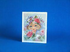 Vintage Wide Blue Eyed Pretty Girl Blank Cards  by FunkyKoala