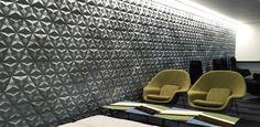 'Tre' concrete tile design by Levi Fignar I KAZA Concrete #surfacedesign #featurewall #backsplash #contemporarytiles