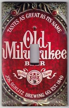 Old Milwaukee Beer / Vintage Sign Switchplate by SpottedDogStudios, $8.00