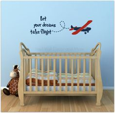 Plane Decal Let your dreams take flight by VinylWallDecorandMor