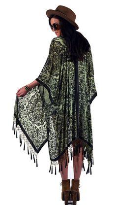 Sage Medallion Brocade Velvet Burnout Gypsy Beaded Fringe Tassel Kimono Duster