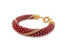 Red polka dot beaded bracelet beaded crochet rope red bead