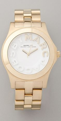 Marc By Marc Jacobs Metal Rivera Logo Watch in Gold - Lyst