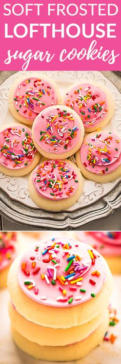 This recipe for Soft Lofthouse Style Frosted Sugar Cookies are made completely from scratch and make the perfect addiction to any holiday cookie platter. Best of all, they bake up deliciously soft with an easy frosting dressed up with pretty sprinkles! Best treat for Santa's cookie tray with a tall glass of milk. #lofthouse #copycat #cookies #sugarcookies #soft #frosted #christmas #valentines #easter #mothersday #babyshower #weddingshower