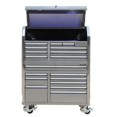 Kobalt 68.7-in X 53-in 18-drawer Ball-bearing Stainless Steel Tool Cabinet…