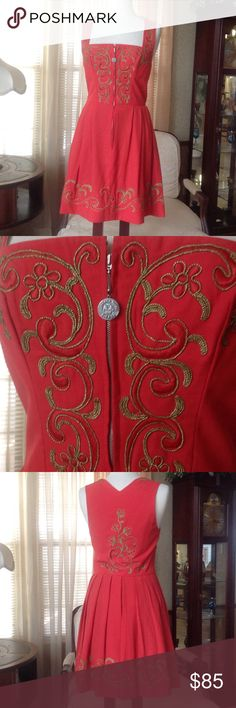 Vintage 1960'S red dress Johanna Rappel In excellent condition regardless of  the age. It has pockets on the sides with metal zipper with a round pull with the Johanna Rappel name engraved.  Bundle at least 3 items and get 25% discounts       .                                            j Johanna Rappel Dresses