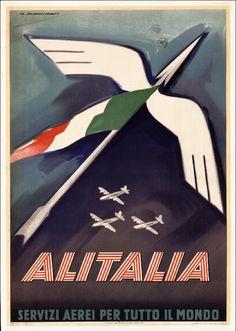 1949: yi presentiamo la nostra prima #pubblicità. 📌 A time travel in 1949, the year of our first #advertisement. #Alitalia #ADV #flight