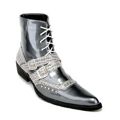 Men Gray Grey Studded Patent Leather Lace Up Goth Heels Ankle Boots SKU-1100139