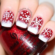 Bright glittery red and snowflakes! Christmas Holiday Nail Art by filippa_bengtsson