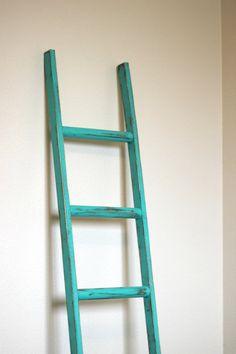 """Ladder Vintage Rustic, Blanket Ladder, distressed teal  pot rack, turquoise  Furniture, 5"""", woodworking, step ladder, wood"""