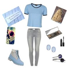 """""""teen"""" by marissamg ❤ liked on Polyvore featuring Paige Denim, Timberland, Topshop, Urban Decay, Bobbi Brown Cosmetics, Cara, Casetify and Noir Jewelry"""