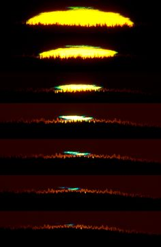 Northern Green Flash (June 23 2012)  Image Credit & Copyright: Göran Strand As seen from Frösön island in northern Sweden the Sun did set a day after the summer solstice. From that location below the arctic circle it settled slowly behind the northern horizon. During the sunset's final minute, this remarkable sequence of 7 images follows the distorted edge of the solar disk as it just disappears against a distant tree line, capturing both a green and blue flash. (...) #astronomy #space #sun