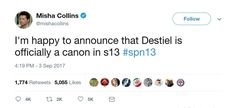ummm?..... UMMMM? Excuse me? If it wasn't Misha, I'd say no one likes a tease.<<<i dont think its true, check his Twitter, you can access it without an account