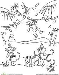 This Birthday Monkey Coloring Page Features Playful Monkeys Celebrating A Invite Your Child To The Party By Giving Him Fun Sheet