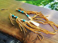 Turquoise Buffalo Tooth Buckskin Necklace via Etsy Leadership Abilities, Tribal Warrior, Animal Medicine, My Cup Of Tea, Creative Teaching, Love Design, Buffalo, Tooth, Tassels