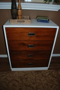 Mid Century Two tone Dresser! Painted white and stained! LOVE! SOLD!