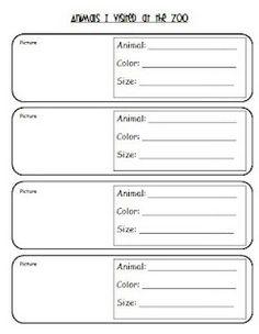 Free Download- Zoo field trip recording sheet