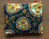 Vintage black, yellow and green paisley print handmade coin purse x
