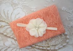 Peach Stretch Lace Swaddle Wrap AND/OR Ivory Flower Headband for newborn photo shoots, baby swaddle blanket, lace wrap by Lil Miss Sweet Pea by LilMissSweetPea on Etsy