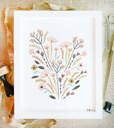 bloom art print 8 x 10 floral bouquet illustration in spring colors with white background. $15.00, via Etsy.