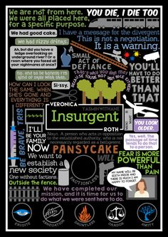 Book Collage based on Insurgent by Veronica Roth (theartofnotwriting)So excited for the film to come out!Currently working on an Allegiant design, but you can find the Divergent poster HERE (although, I'm also updating that one so maybe wait til I post them all together cause it'll look a whole lot nicer…)More book collages HERE