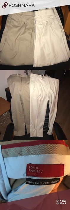 A pair of men's dress pants. Very nice,great shape 2 Louis Raphael Rosso men's dress pants. Both are 30x30 and in great shape. So much life left in these pants. One is a khaki colored and the other is lighter beige color. More on the dressier kind of pants instead of casual louis raphael rosso Pants Dress
