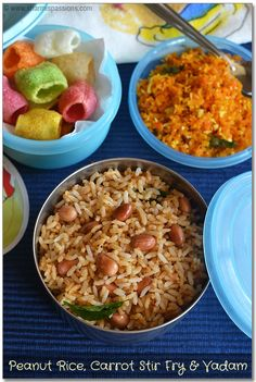 Kids Lunch Box Recipes Idea8 - Peanut Rice, Carrot Stir Fry and Vadam