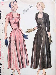 1940s PRETTY DRESS PATTERN HORSE SHOE SHAPE NECKLINE, 12 GORE SKIRTED SIMPLICITY PATTERNS 2770