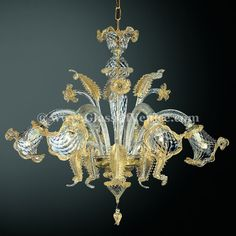 Canal Grande 6 lights Murano glass chandelier transparent gold by Murano glass… Murano Chandelier, Antique Chandelier, Modern Chandelier, Chandelier Lighting, Chandeliers, Cheap Chandelier, Luxury Chandelier, Style Salon, Lighting Concepts