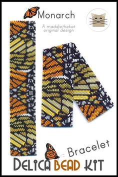 Monarch Butterfly Design Bracelet Delica Peyote Bead Pattern or KIT DIY-Maddiethekat Designs