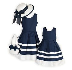 Matching Sister Dresses Classic Navy and White Sister Dresses. Classic Navy and White Girls Wedding Guest Dresses made Exclusively for Wooden Soldier